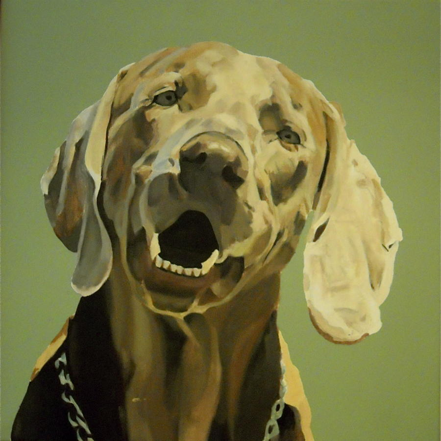 Oil painting of Weimaraner