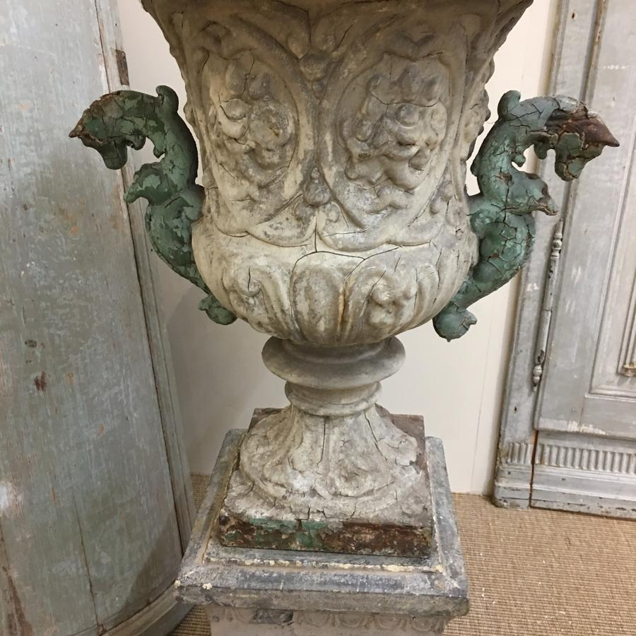 1880s pair of cast iron urns with original terracotta bases