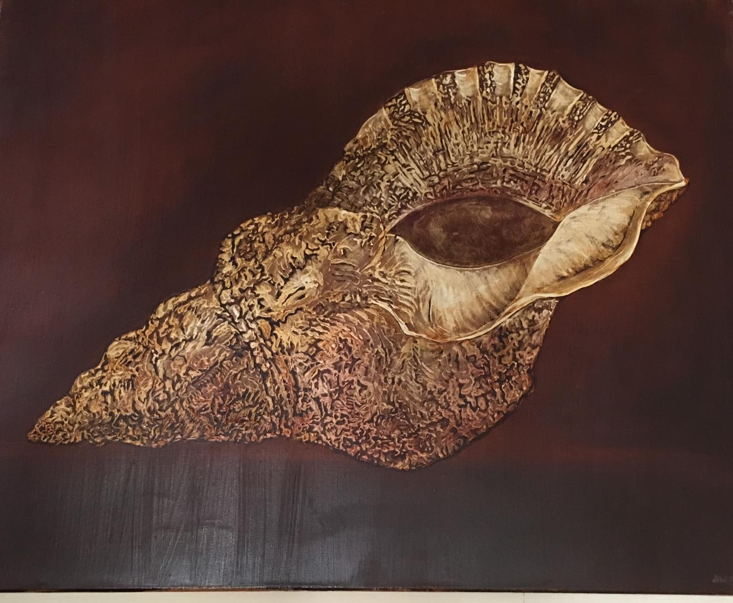 Oil on board of shell