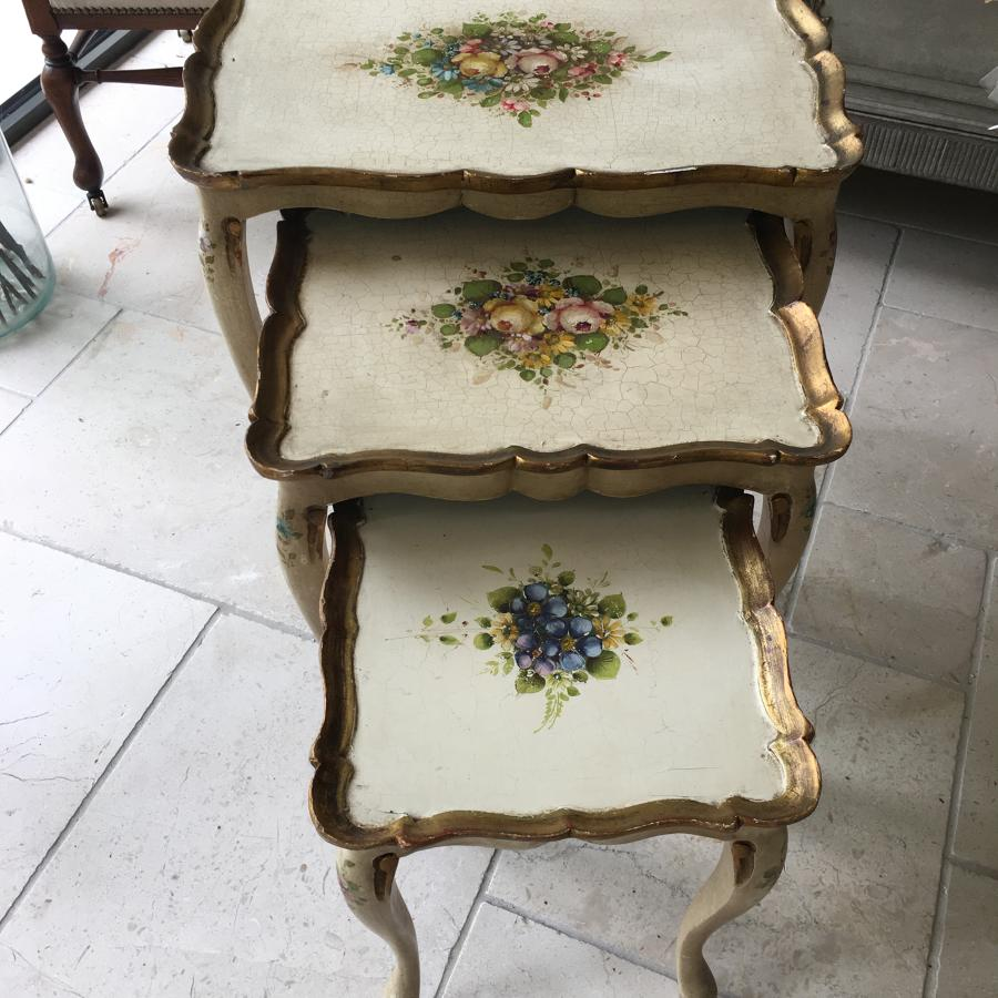 Set of three painted wooden tables