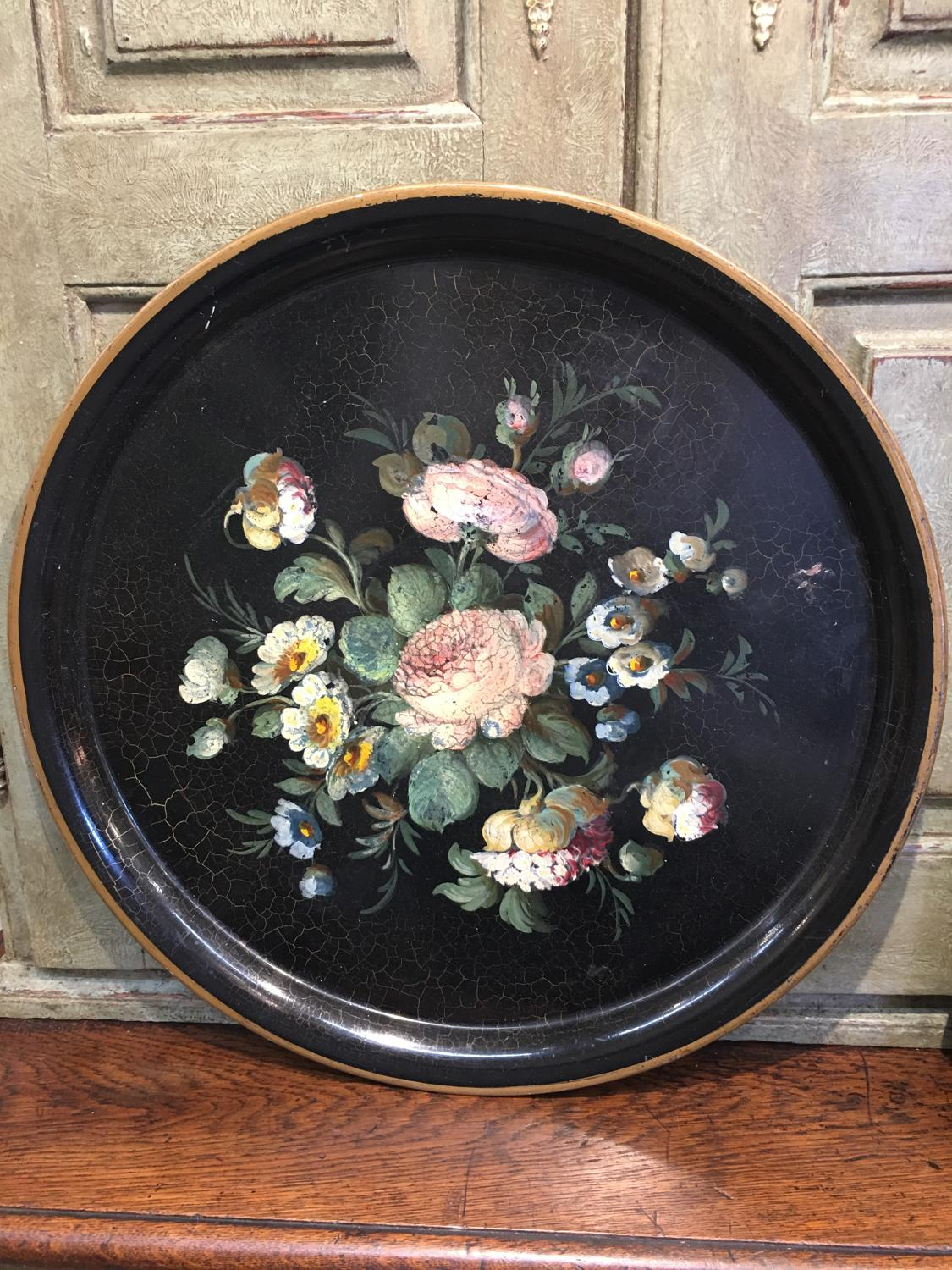 Victorian tole tray black with roses