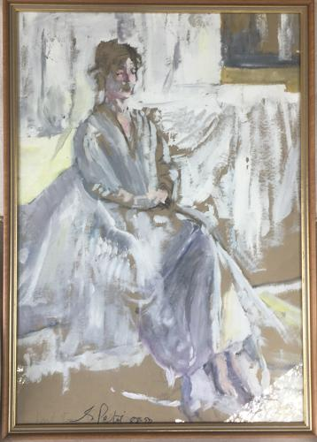 Framed watercolour of distinguished lady by George Petri