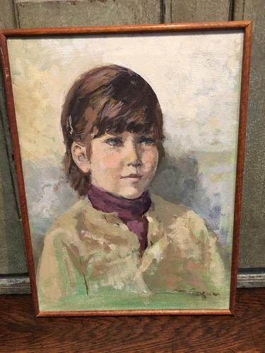 Framed oil painting of child