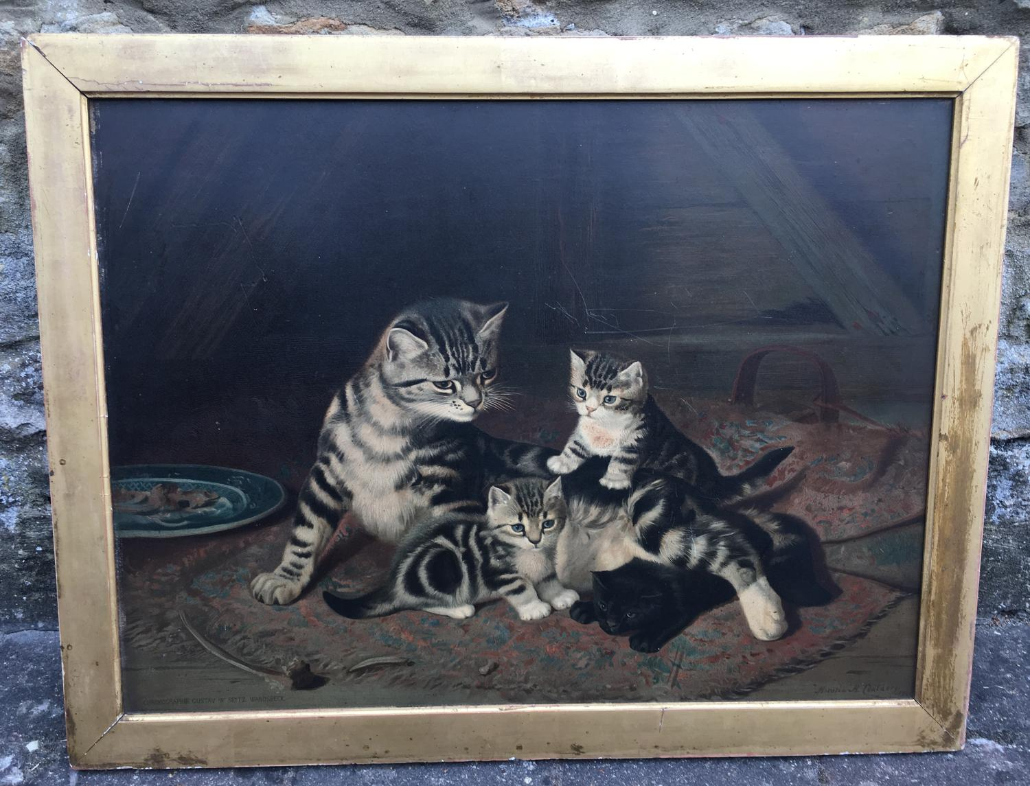 19th C chromolithograph of cats