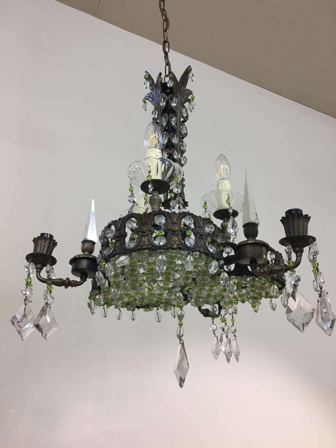 Green and white glass chandelier c 1920