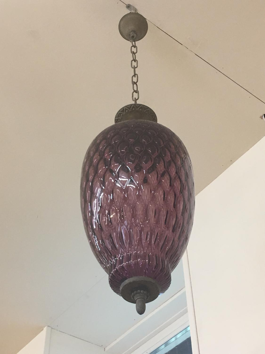 French purple glass ceiling light