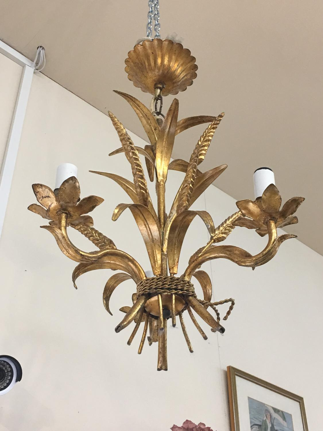 French tole chandelier wheat sheaves