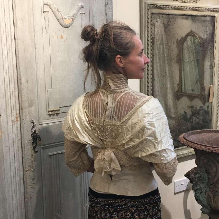 Edwardian silk bridal top