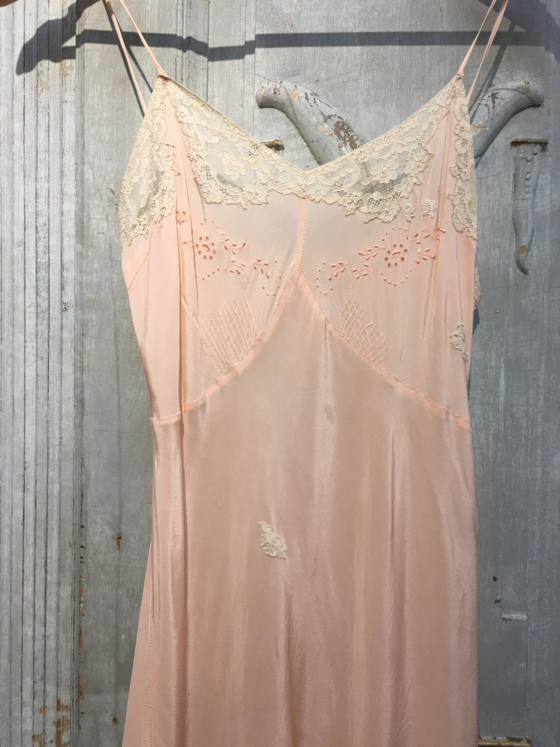 Vintage peach and cream silk slip