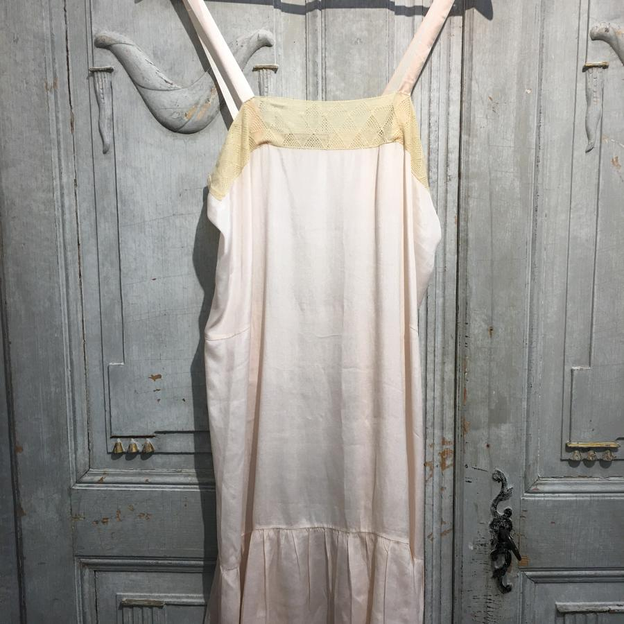 Vintage French peach silk slip