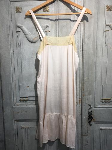 Vintage French peach silk slip