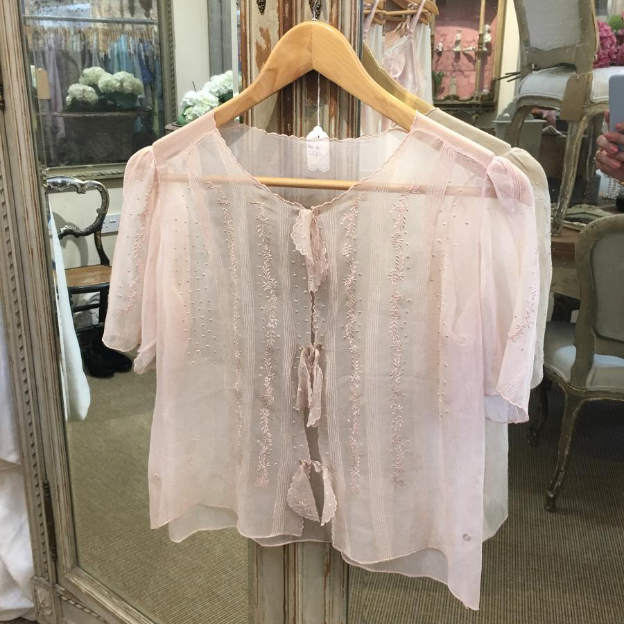 Pink silk embroidered blouse