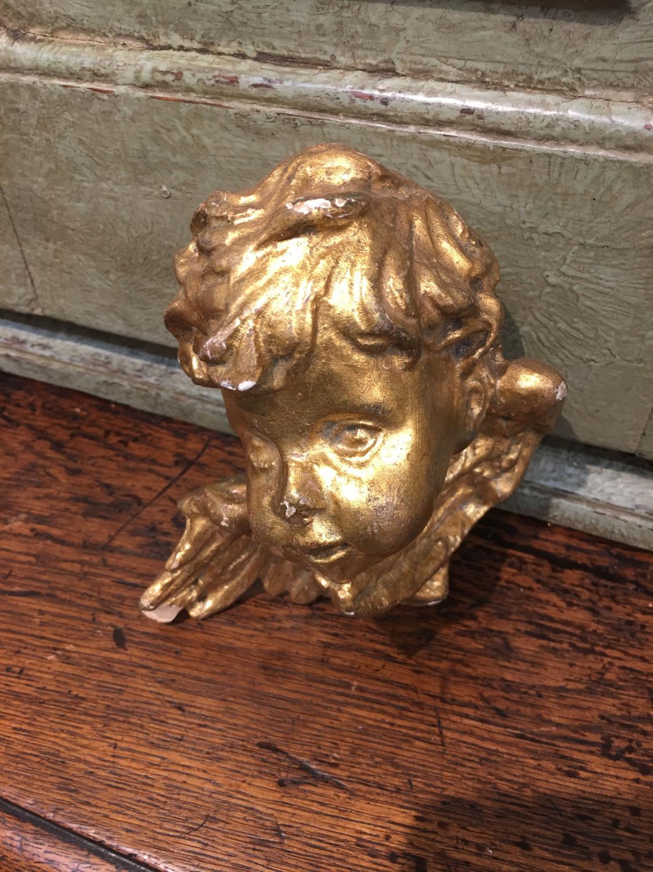 Vintage Italian wooden gilded cherub