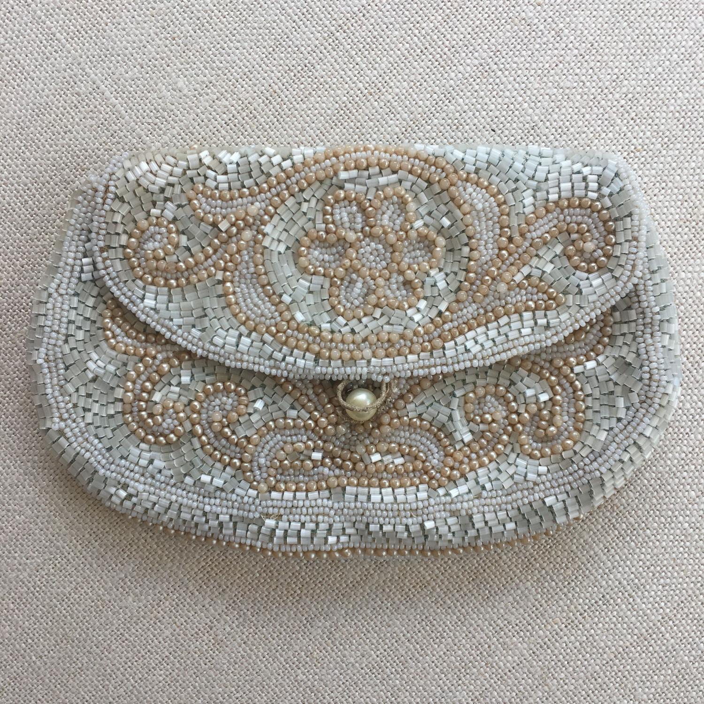 Vintage pale blue and beige beaded handbag