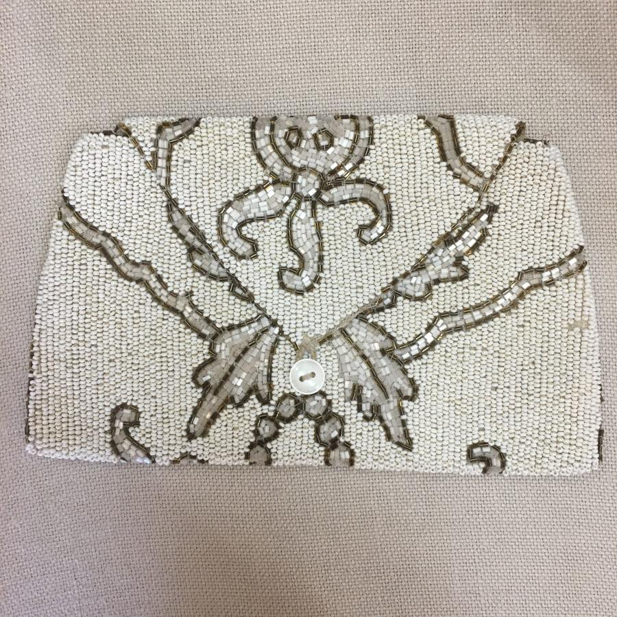 1930s off-white hand beaded bag