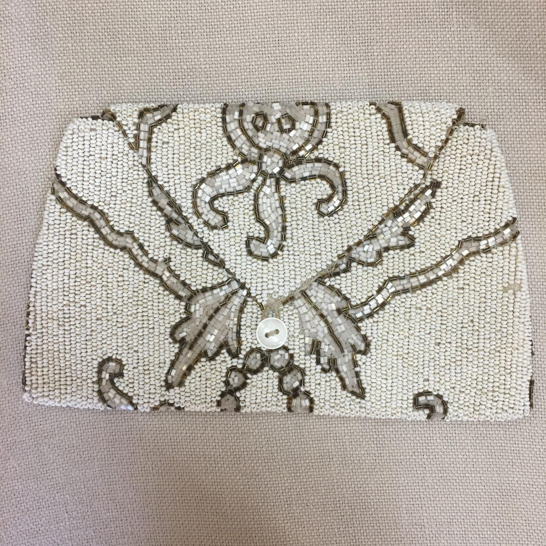 1930s off-white hand beaded bag