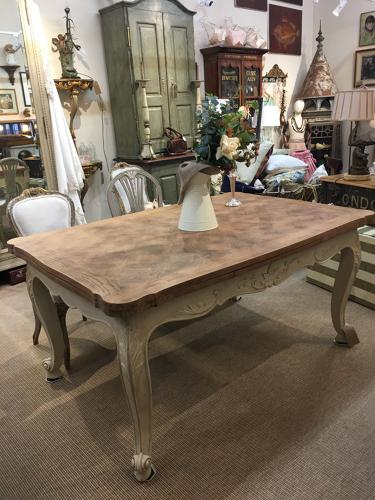 French oak topped extendable table with painted base