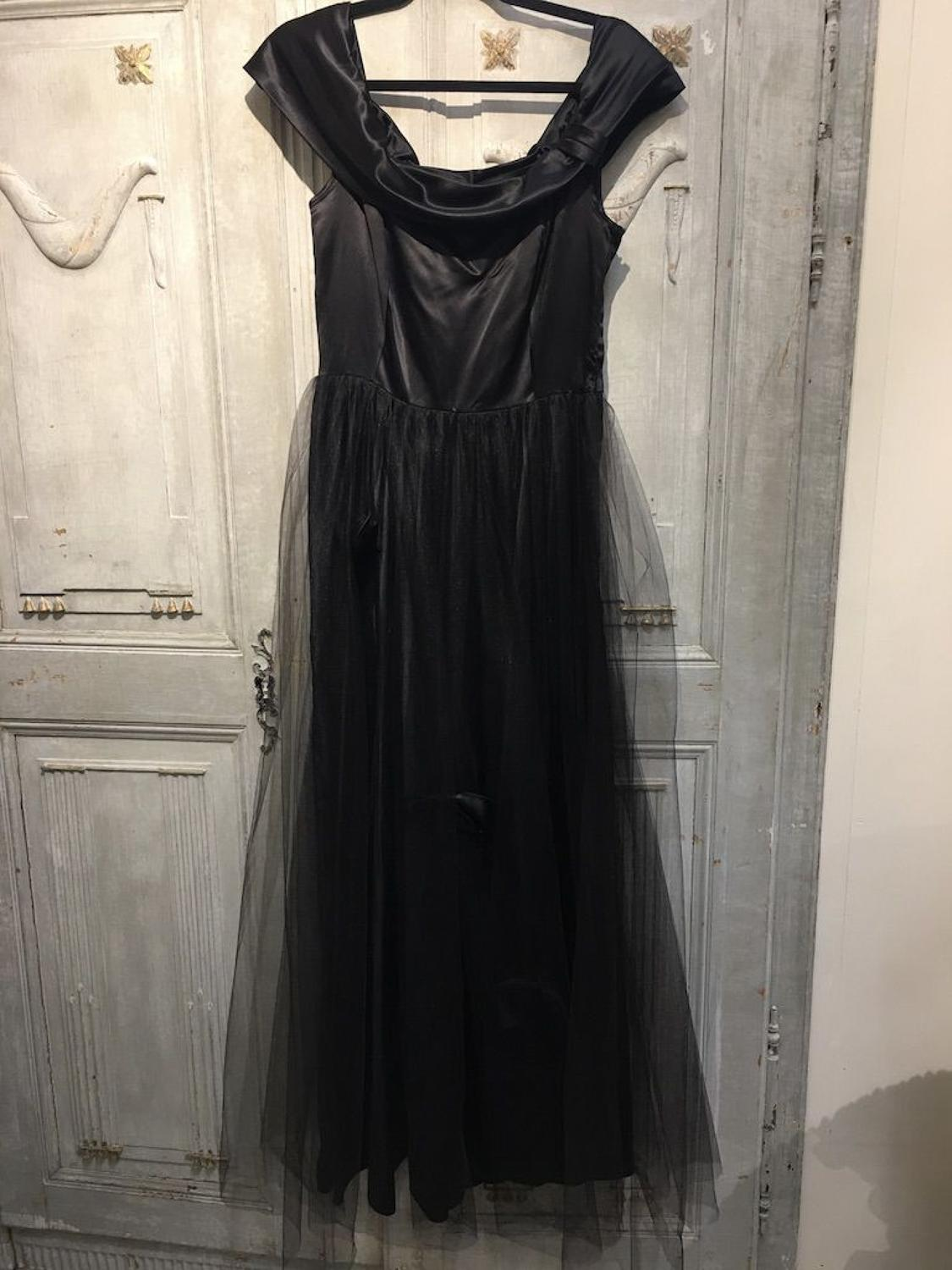 Vintage black satin and net evening dress