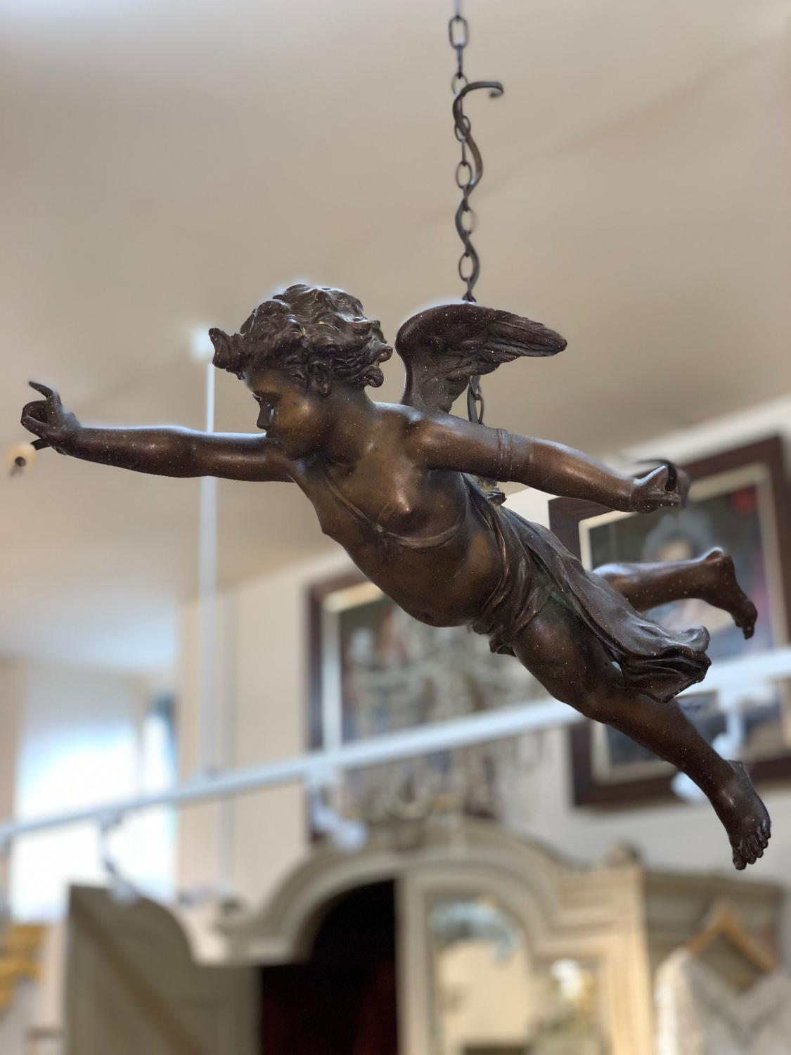 19th century spelter cherub hanging light