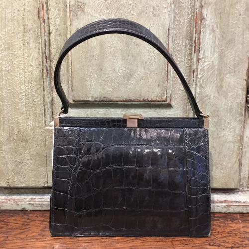 Vintage black crocodile handbag