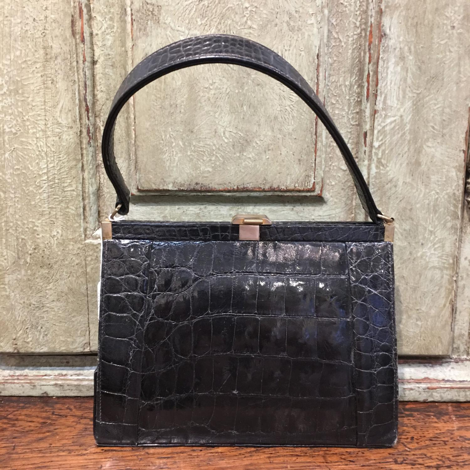 Vintage black crocodile handbag