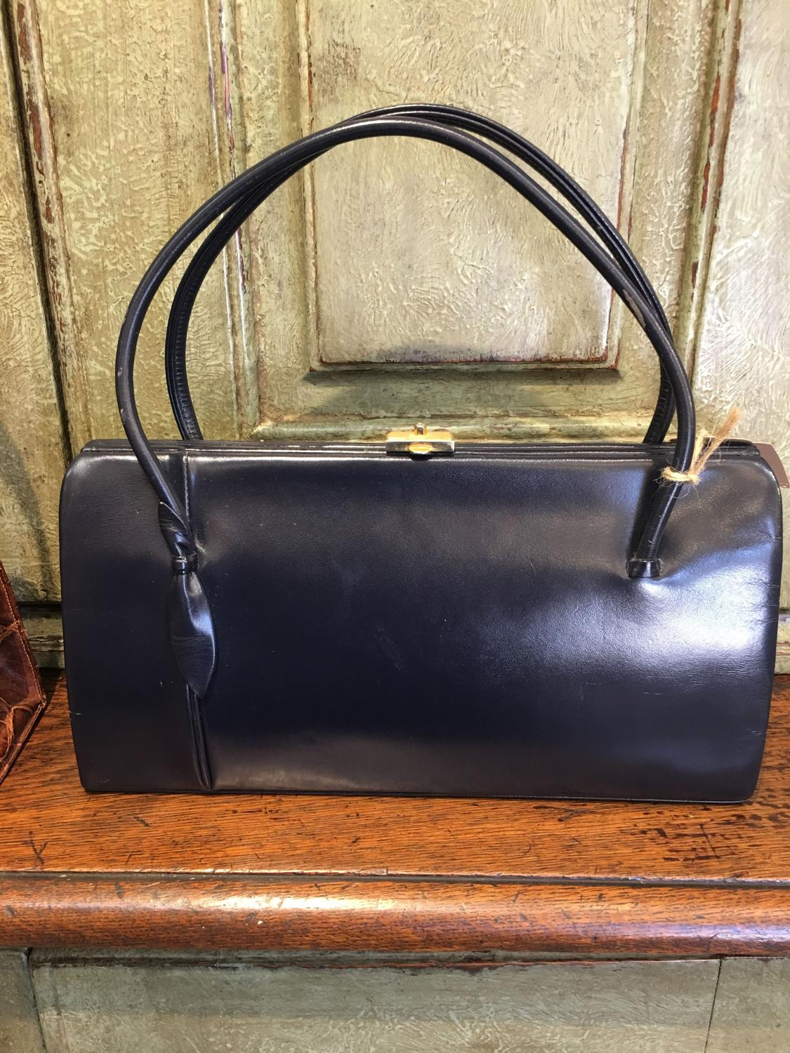 Vintage navy leather Woldi handbag