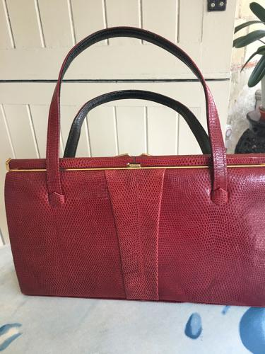 Red Lizard skin Fassbender handbag