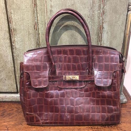 Brown crocograin leather Birkin style handbag