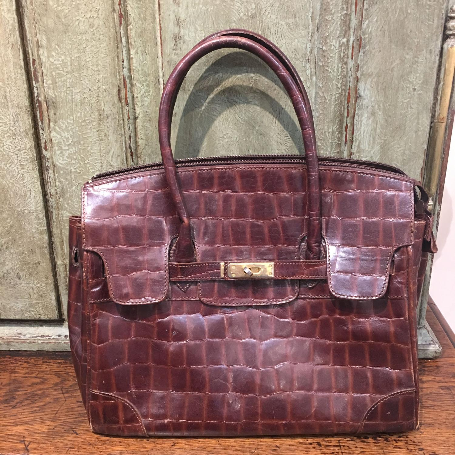 Brown crocograin leather Birkin style handbag