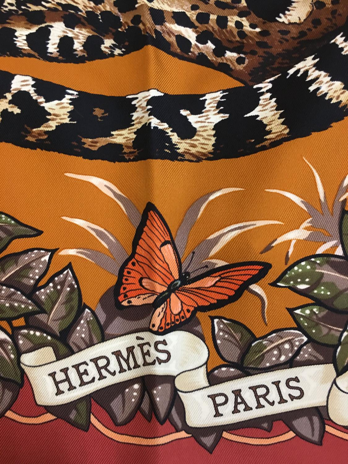 Rare Hermes Jungle Love silk scarf by Robert Dallet