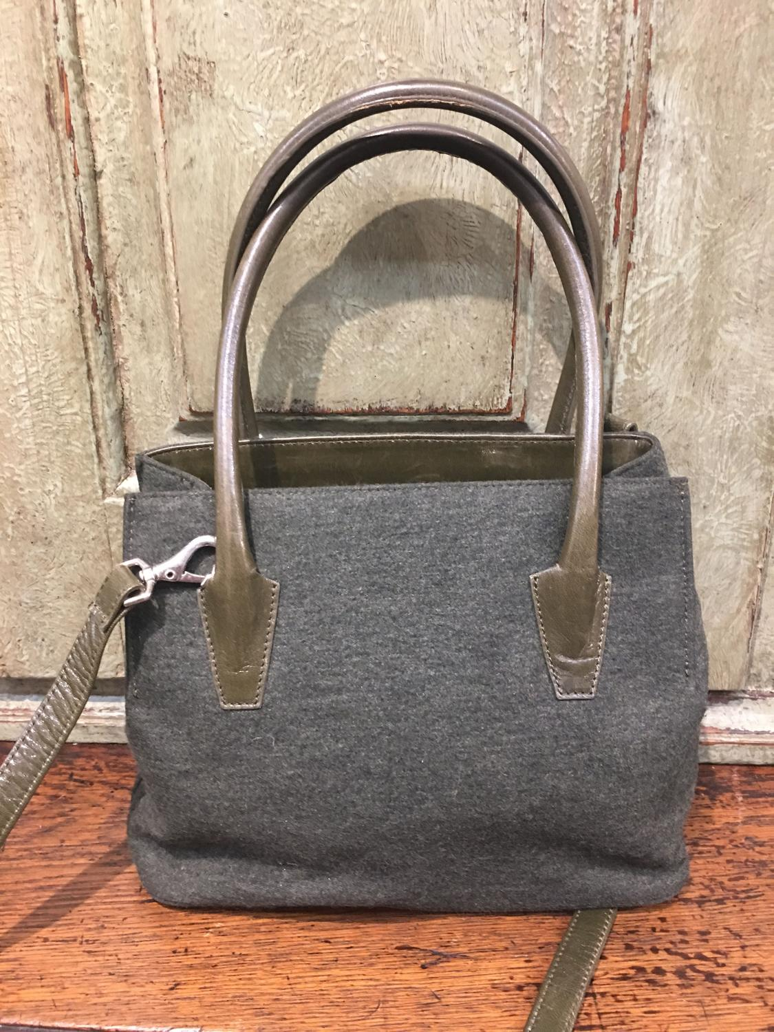 Green wool and leather Jimmy Choo handbag
