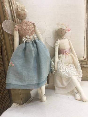Hand crafted fairy dolls using vintage fabrics and trims