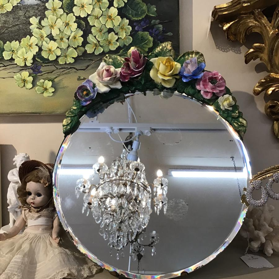 Vintage 1930s oval barbola mirror