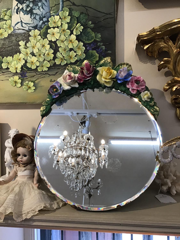 Vintage 1930s oval barbola mirror