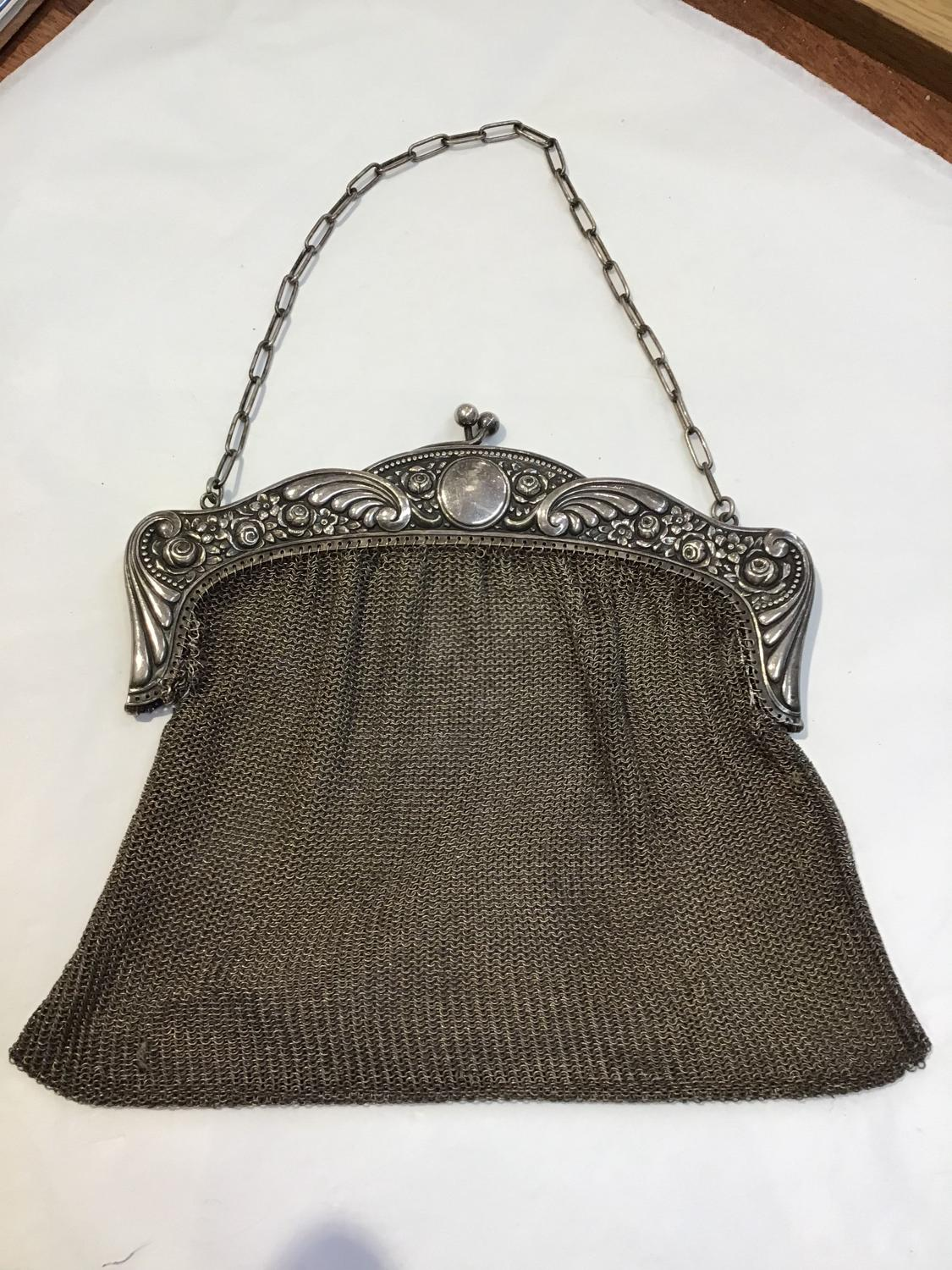 Edwardian silver plated chain bag