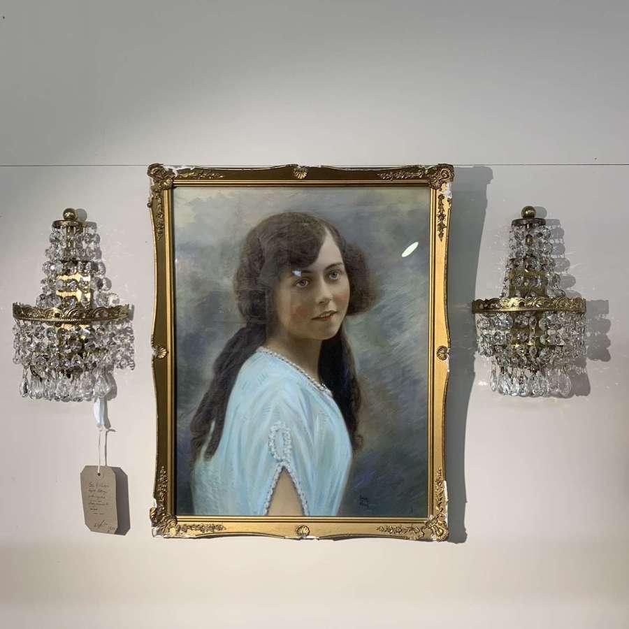 Vintage pair of crystal drop wall lights