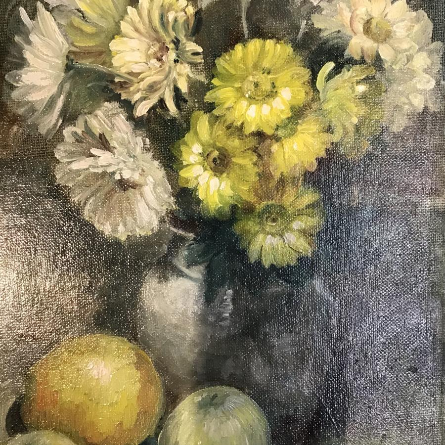 Oil on board flowers and fruit