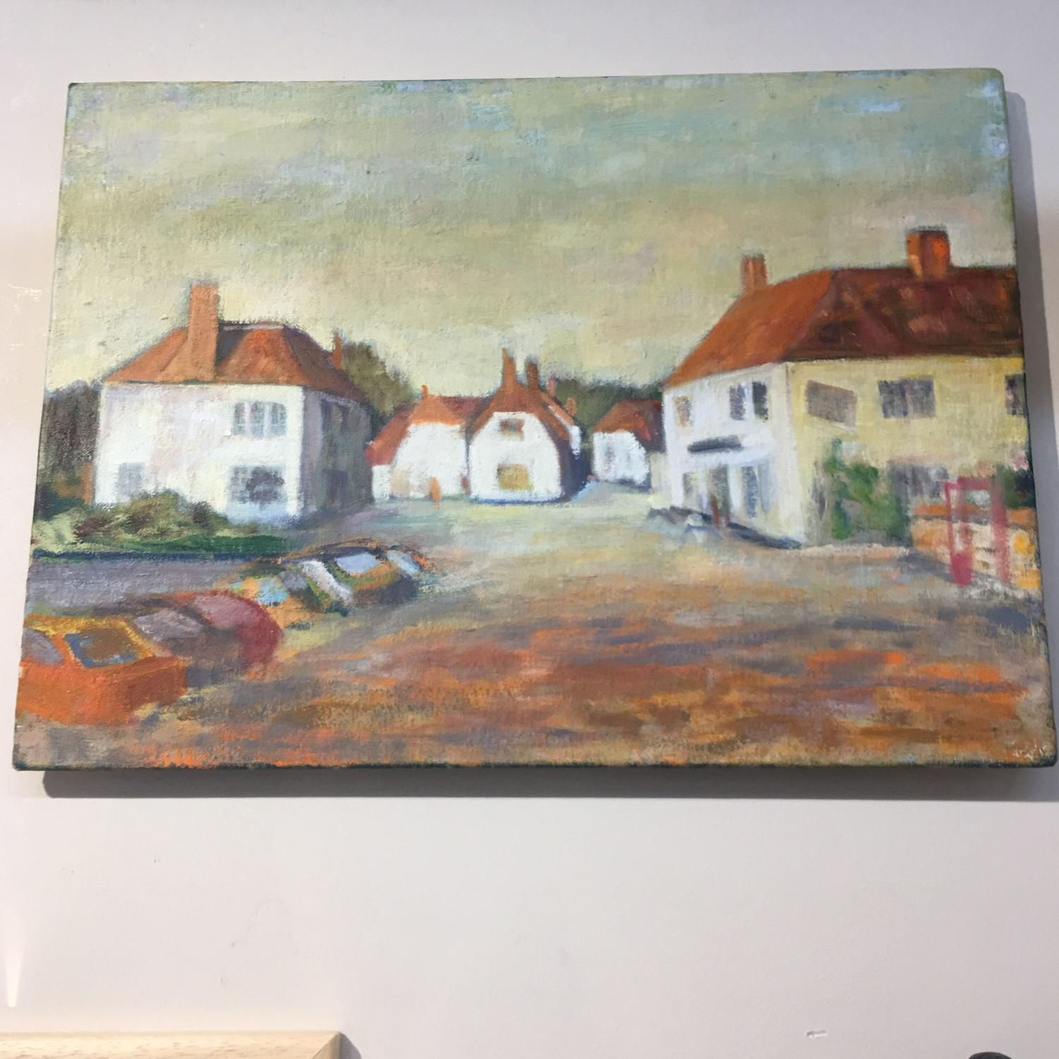 Vintage oil painting of houses