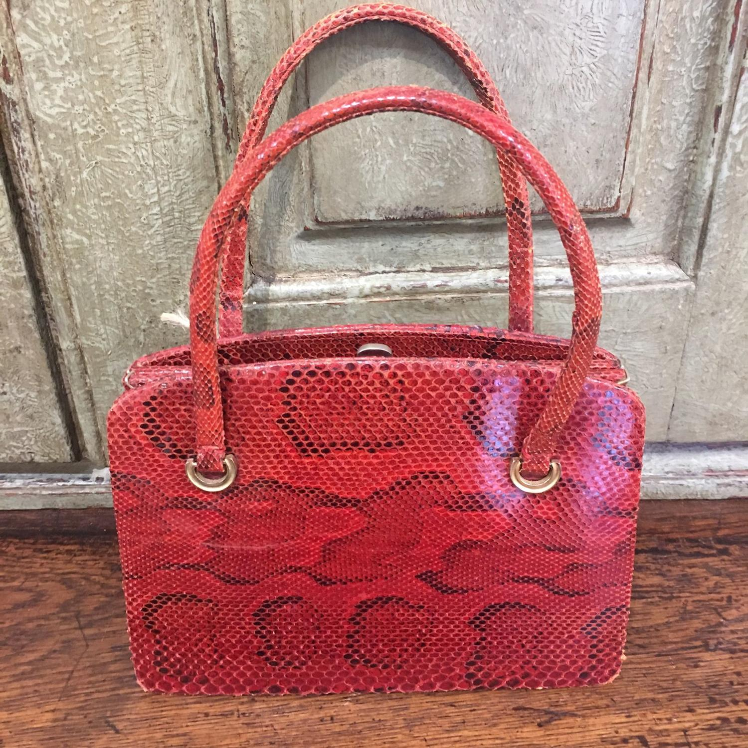 Red lizard handbag