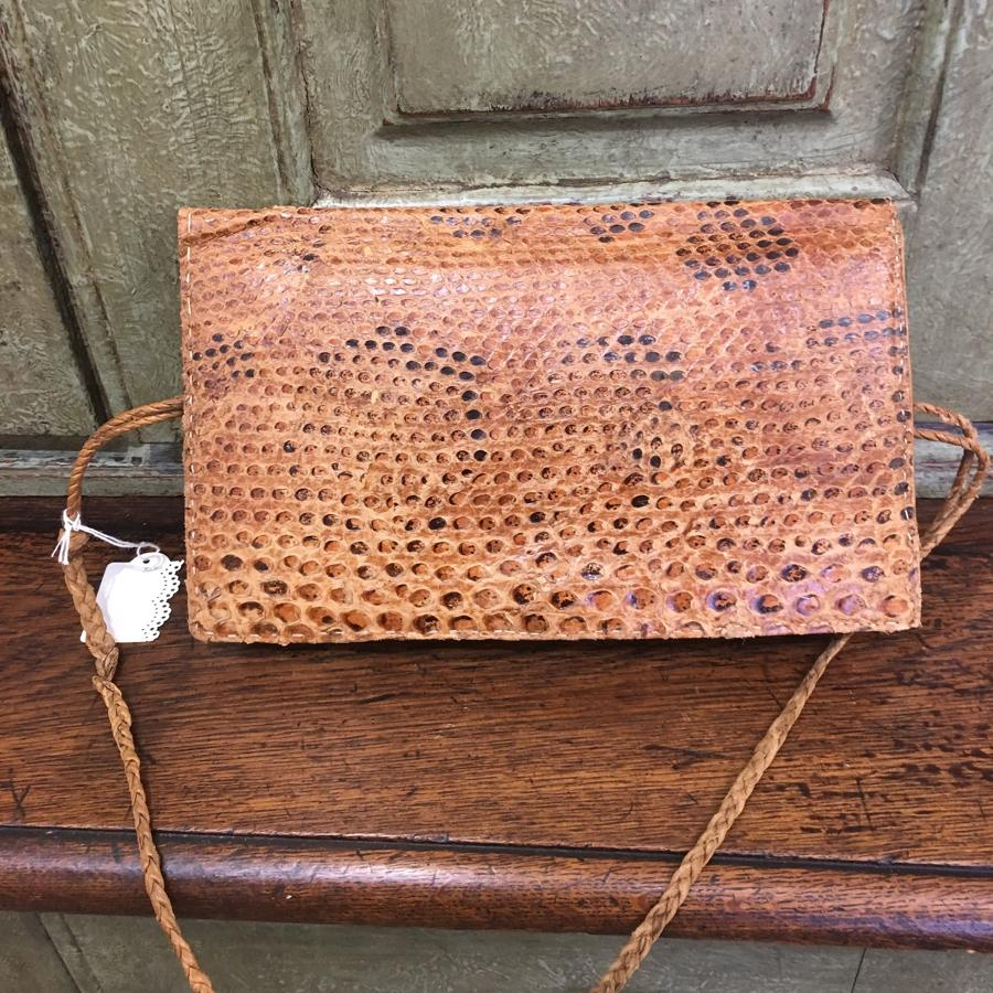 Vintage tan snakeskin shoulder bag/clutch