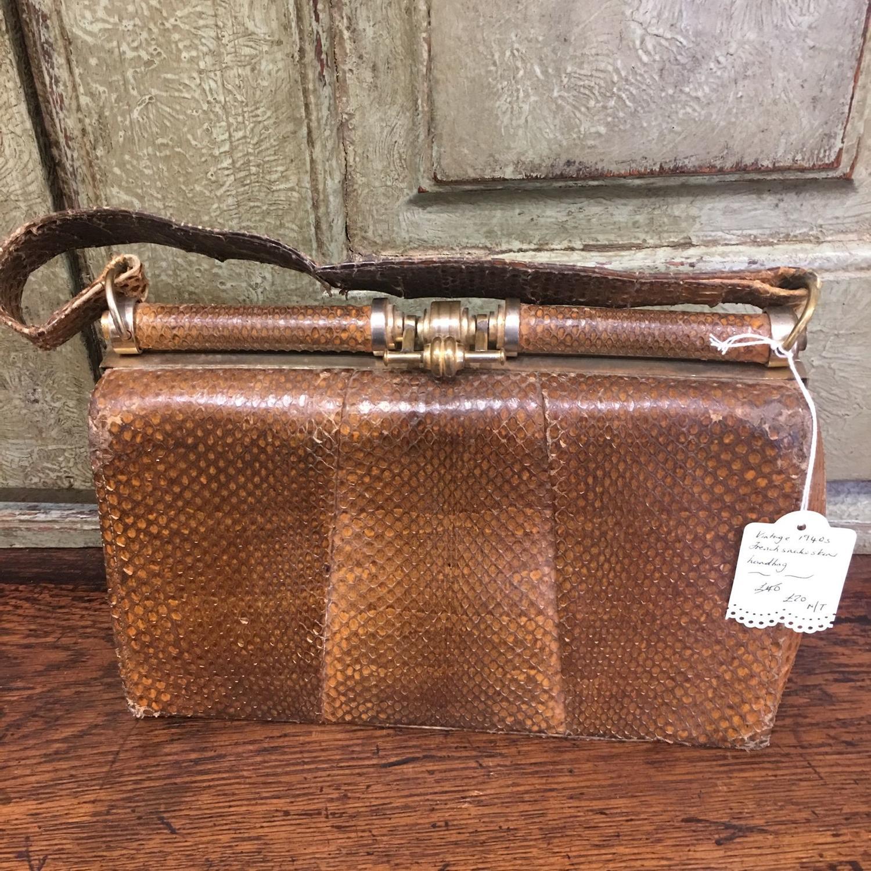 Vintage tan snakeskin shoulder bag/clutch