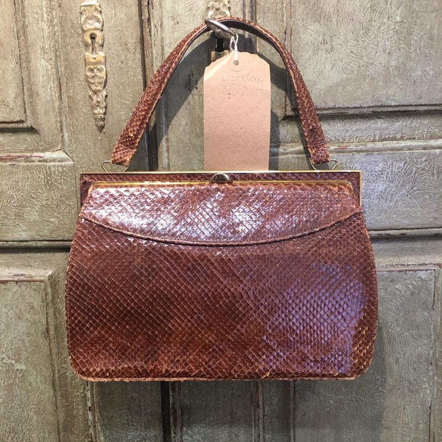 Tan snakeskin bag