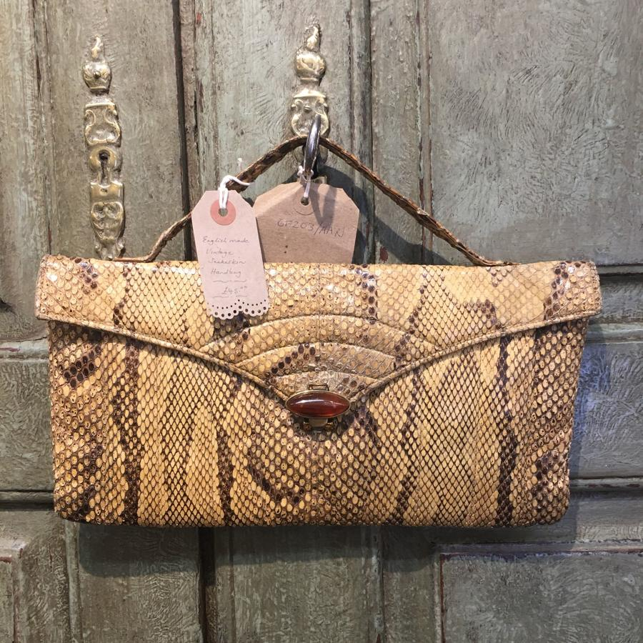 English vintage snakeskin bag