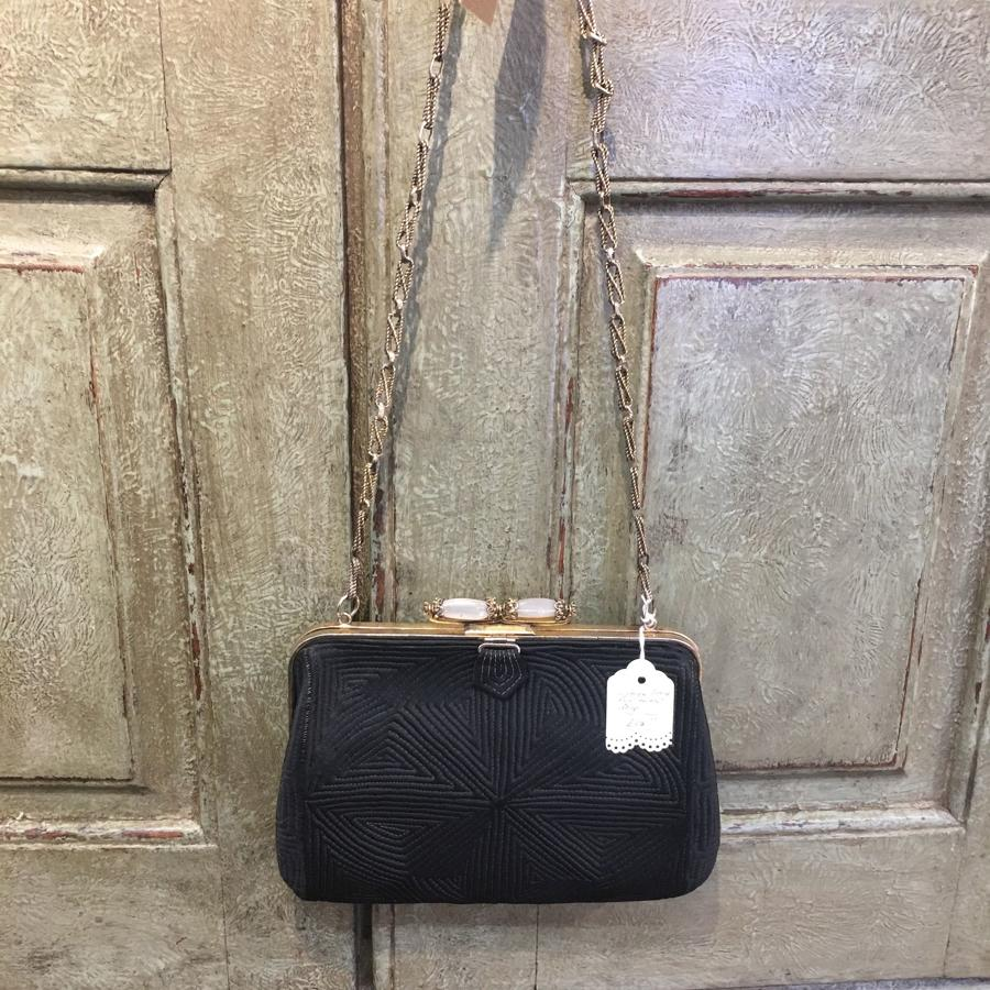 Vintage black moire evening bag