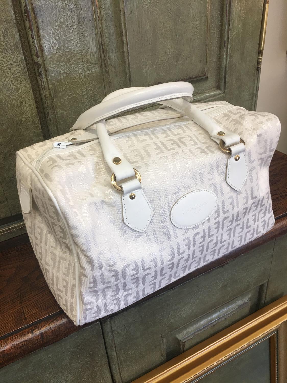 Vintage  white monogrammed 1970s Louis Feraud Paris handbag