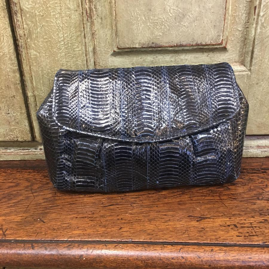 Vintage navy snakeskin handbag