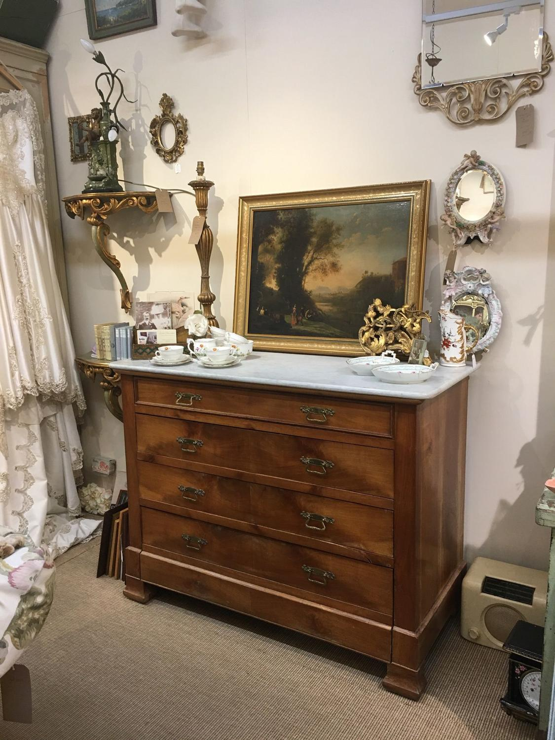 French marble top chest of drawers