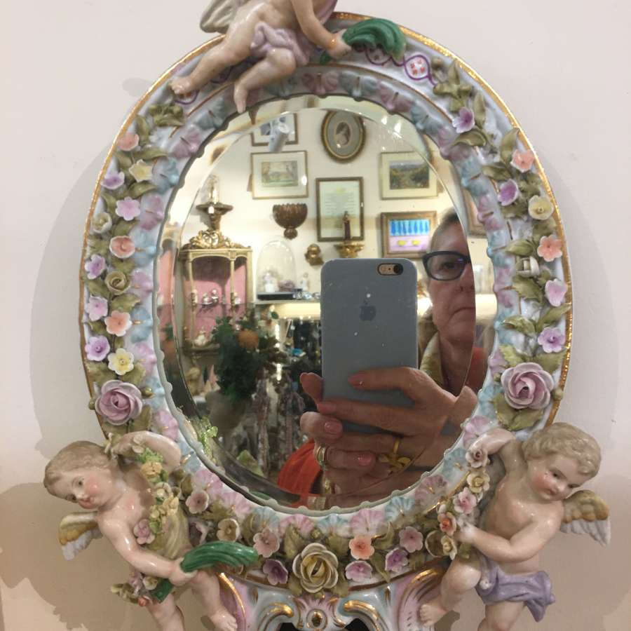 Dresden Three Cherub mirror antique
