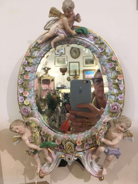 Dresden Three Cherub mirror antique