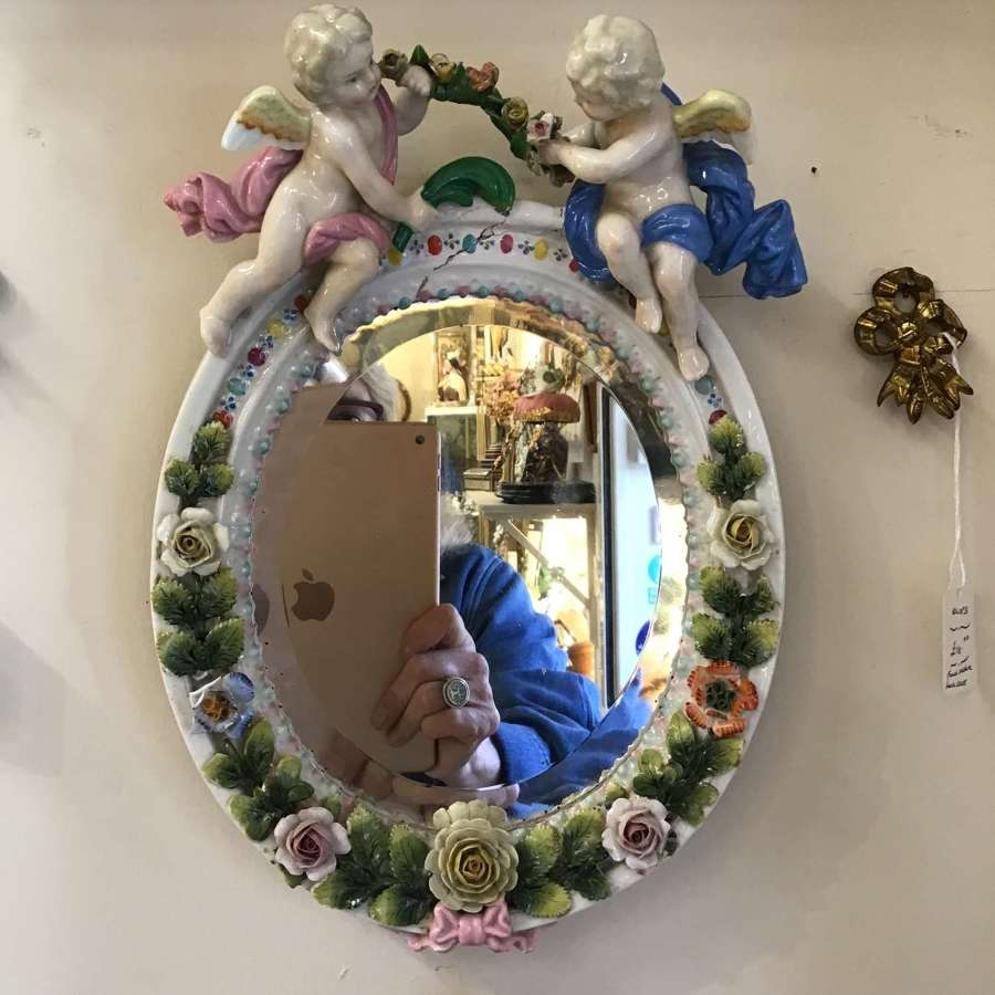 Antique china cherub mirror with flowers